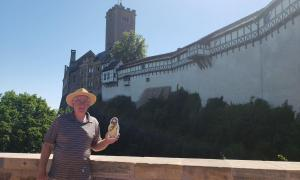Pastor Carl with Flat Jesus in Germany at Wartburg Castle