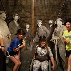 Having a mining blast at the Minnesota History Center on the free night of our mission trip
