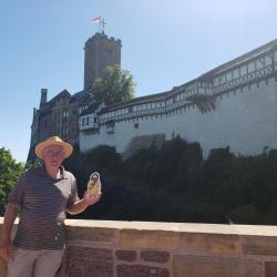 Pr Carl with Flat Jesus in Germany at Wartbrg Castle in Eisenach, where Martin Luther translated the New Testament for Latin to German